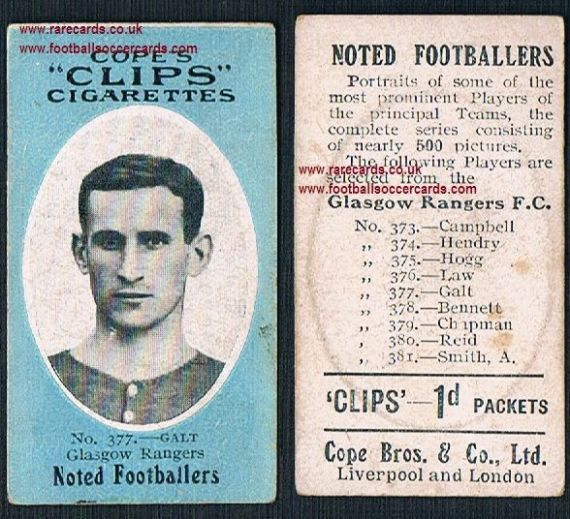 1910 Glasgow Rangers 377 Galt Cope Clips cigarettes noted footballers